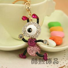 Free Shipping Rhinestone Accessories full rhinestone ant car keychain chain bags buckle lovers