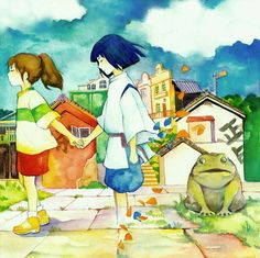 Goodbye- Chihiro and Haku in Spirited Away Spirited Away Haku, Miyazaki Spirited Away, Hayao Miyazaki, Chihiro Y Haku, Natsume Yuujinchou, Free Anime, Anime Films, Totoro, Image Boards