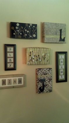 Shoe Box Lids With Scrapbook Paper, Paint And Some Old Frames. I Used Old.  Shoe Box LidsDoorbell CoverFoyer ...