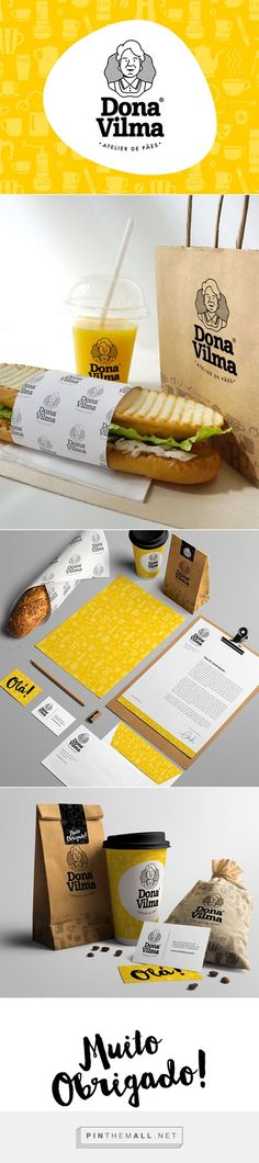 Visual Indentity - Dona Vilma Bakery / Branding / Packaging / Inspiration / Ideas / Bakery / Bread / Cartoon / Cartoonish / Black and White / Color Accent / Yellow / Modern / Simple / Fun / Organic