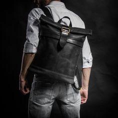 Mochila de cuero mochila superior rollo por Kruk garaje   Etsy