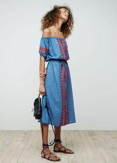 madewell denim mercado dress worn with the asheville saddlebag   lace-up gladiator sandal.
