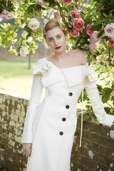 Laura Carmichael for Town & Country UK Photograph by Thomas Schenk and styled by Charlie Harrington. Laura Carmichael wears wool coat by Dior Haute Couture; comb by Jennifer Behr; earrings and ring by Van Cleef & Arpels . of Downton Abbey . Downton Abbey Cast, Downton Abbey Costumes, Celebrity Inspired Dresses, Celebrity Dresses, Town And Country Magazine, Country Uk, Country Fashion, Style Fashion, Celebrity Look Alike