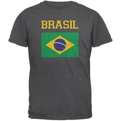 World Cup Distressed Flag Brasil Dark Heather Adult T-Shirt
