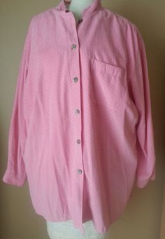Pink Perforated Blouse Shirt Size 3 Long Sleeve Pocket JH Collectibles  #JHCollectibles #Blouse #Casual