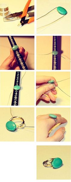 diy ring by sherri How To Make Rings, Make Your Own Jewelry, Jewelry Making, Wire Jewelry, Beaded Jewelry, Handmade Jewelry, Textile Jewelry, Wire Crafts, Jewelry Crafts