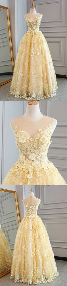 Yellow Prom Dresses,Lace Prom Dresses,Customize Prom Dress,Long Prom Dress,A-line Evening Dress,Senior Prom Dress,Halter Evening Dress #lace #senior #yellow #evening #prom #Customize #okdresses