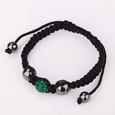 Shamballa Bracelet 10MM Disco Magnetite Green Ball by Youchic, $4.52