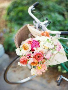 Bike basket full of flowers