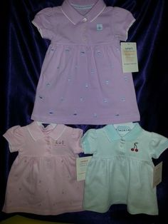 CARTERS GIRLS LILAC WHALE, PINK SWEETIE, or Cherry POLO DRESS SET SZ 12M, 6M NWT   eBay item number:  161229815464
