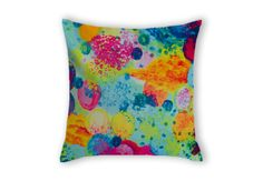 Time for Bubbly, Lovely Ebi Emporium #velveteen #throwpillow #cushion #pillow in #Australia, #fineart #bedding #pink #purple #plum #raspberry #radiant #orchid #hotpink #neon #turquoise #cyan #cerulean #blue #lime #orange #tangerine #royalblue #electric #bubbles #waves #water #ocean #beach #nature #fun #circles #pattern #rainbow #organic #design #home #decor #decorative #bedroom #accessories #colorful #colourful #whimsical #cool #trendy #stylish #coastal