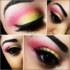 Nails Bright Pink Yellow 19 Ideas For 2019 Blue Green Hair, Pink Yellow, Bright Pink, Purple, Hot Pink, 80s Makeup, Makeup Art, Makeup Eyeshadow, Makeup Stuff