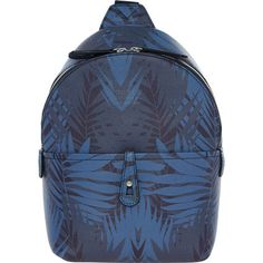 Buy Blue Leaf Patterned Backpack at TK Maxx