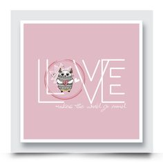 'LOVE MAKES THE WORLD GO ROUND' canvas wall art for a girls nursery or bedroom can also be personalised with your child's name. Order your contemporary art print today from http://www.madicleo.com/collections/wall-art-for-girls-rooms