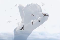 "Deep double exposure photography from the project ""Insideout"" by Grain Pixels photography Like the birds in my chest Pixel Photography, Portrait Photography, Multiple Exposure Photography, Illusions, Birds, Deep, Animals, Art, Art Background"
