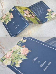 Elegant boho florals navy blue DIY country wedding invitation ideas frames-templates with pictures-photo- engagement pics- Tri Fold Wedding Invitations, Wedding Invitations With Pictures, Wedding Stationary, Wedding Invitation Templates, Invitation Ideas, Wedding Card With Photo, Calligraphy Invitations, Wedding Music, Home Wedding