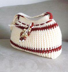 Crochet cream and dark orange shoulder bag beaded by MyNicePurses, $50.00
