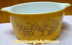 Pyrex - Old Orchard Casserole Dish - 473 - 1 Quart - No Lid - Very Slight Wear On Pattern by pittsburgh4pillows on Etsy
