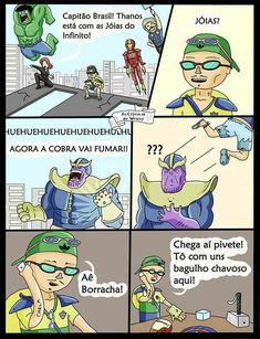Se thanos estivesse no Brasil Avengers Imagines, Avengers Memes, Marvel Memes, Top Memes, Dankest Memes, Marvel Dc, Little Memes, Best Memes Ever, Wtf Funny