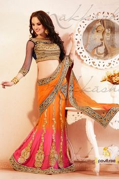 Splendorous Black, orange and pink color party wear Lehenga Choli