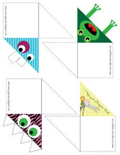 Page corner bookmarks Diy Bookmarks, Corner Bookmarks, Felt Crafts, Diy And Crafts, Paper Crafts, Diy Marque Page, Diy For Kids, Crafts For Kids, Bookmark Template