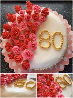 geburtstagtorte mit rosen fondant rosen gold birthdaycake geburtstag torte - Kuchen Muster