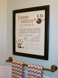 Handprints Poster - capture their handprints and be reminded with this keepsake that time with your children goes by quickly. Enjoy the moments and remember their milestones - Barn Owl Primitives Baby Crafts, Crafts To Do, Craft Projects, Crafts For Kids, Projects To Try, Infant Crafts, Infant Art Projects, Baby Footprint Crafts, Family Crafts