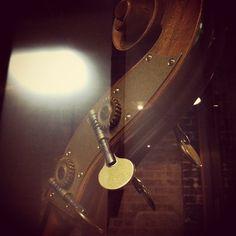 """@thequeenskickshaw's photo: """"Steampunk detail of an upright base, @BrianAdlerDrums @QueensKickshaw."""""""