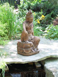 Kuan Yin In Royal Ease Garden Statue   Buddha Garden Statues Garden Statues