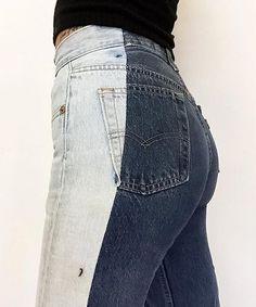 Alex Kennedy Alxvndra Denim Accessories Two-Tone Jeans All Jeans, Cute Jeans, Custom Clothes, Diy Clothes, Denim Fashion, Fashion Outfits, Two Toned Jeans, Estilo Jeans, Diy Vetement