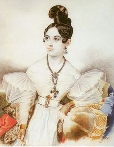 Fashionable hair dressing and costume of the 1830s. The sitter wears a high topped mantilla style comb