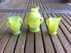 Uranium glass coffee set