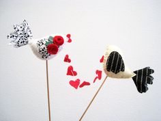Wedding Cake Toppers 2 Love Birds in White Black Cream Red Heart Garland