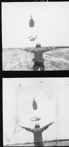 A Chinook carries a downed Huey in for a landing, guided by a member of the recovery team, 1967.   #VietnamWarMemories