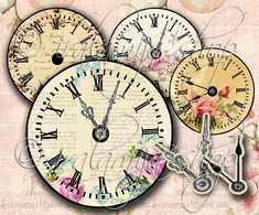 VINTAGE CLOCK No. 2 Printable / Digital Images / download /Printable Clock / scrapbook paper/ Vintage Clock / Clock Printable /Vintage Clock