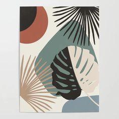 Minimal Yin Yang Monstera Fan Palm Finesse Canvas Print by anitabellajantzart Kunst Inspo, Art Inspo, Art And Illustration, Mini Canvas Art, Leaf Art, Abstract Wall Art, Botanical Art, Fan Palm, Art Drawings