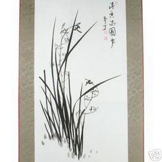 Wall Art Decor Hanging Scroll Chinese Black Ink Orchid Design Oriental Painting