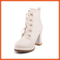 brand new d3531 9ab65 AmoonyFashion Womens Low Top Zipper High Heels Round Closed Toe Boots with  Metal Piece Beige 37   For more information, visit image link.