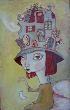 ilustración de Ines Vilpi Legolas, Illustration Arte, Tea And Books, People Figures, Art Corner, Whimsical Art, Face Art, Painting & Drawing, Art Dolls