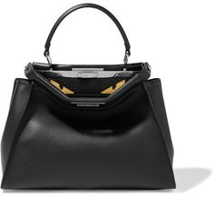 564125c2dbed1 Fendi - Peekaboo Medium Crocodile-trimmed Leather And Python Tote - Black  Fendi-taschen