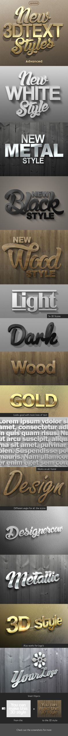 Interesting New 3D Photoshop Text Styles • Only available here ➝ http://graphicriver.net/item/new-3d-text-styles-advanced/3803506?ref=pxcr