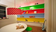 Modern Parents Messy Kids: Design Trend: Neutral Walls with Pops of Bold Color Daycare Design, Playroom Design, Playroom Ideas, Playroom Colors, Playroom Paint, Rainbow Room Kids, Rainbow Bedroom, Rainbow Theme, Rainbow Colors