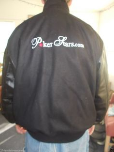 PokerStars.com Men's Jacket Poker Stars Tournament Black Size Large Coat #Unbranded #VarsityBaseball