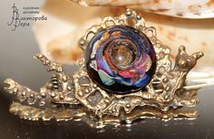"""Brooch """"Snail"""". Handmade glass and brass."""