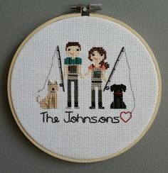 CUSTOM Family Cross Stitch Portrait - FOUR Figures by BeCoProductions on Etsy https://www.etsy.com/listing/267978324/custom-family-cross-stitch-portrait-four