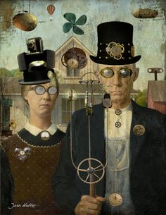 Digital work and thoughts Grant Wood American Gothic, American Gothic Parody, American Art, Mona Friends, Famous Artwork, Lowbrow Art, Art Institute Of Chicago, Gothic Art, Art