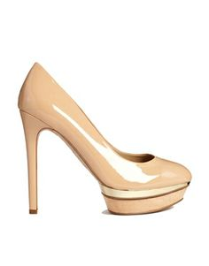 Mango Nude Patent Platform Court Shoes