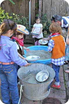 Panning for Gold - The kiddie pool is an easy idea for the basin.
