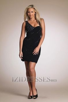 Sheath/Column One Shoulder Chiffon Sequined Party Dresses