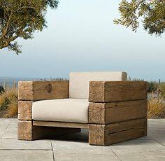 fauteuil jardin tapisse bois
